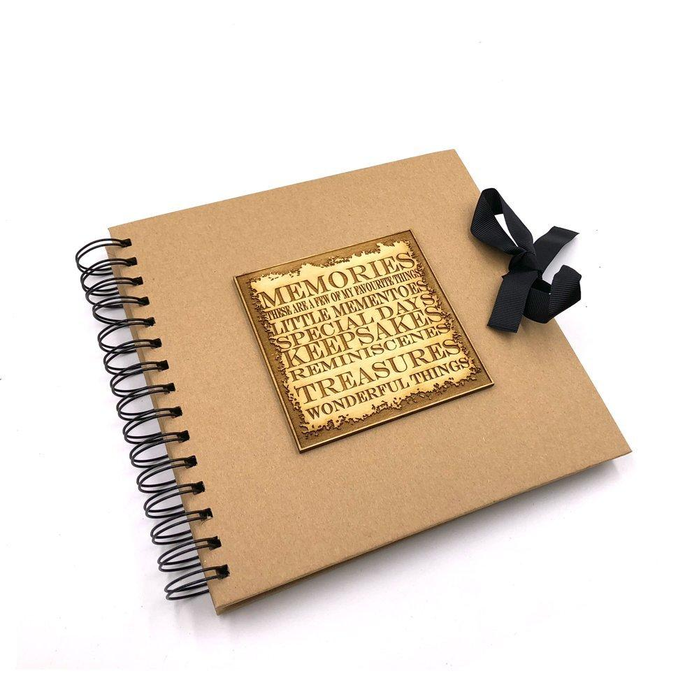Raised Words Memories Book Brown Scrapbook Photo Album - ukgiftstoreonline