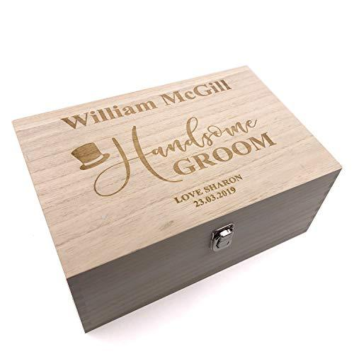 Raised Words Personalised Groom Gift Wooden Keepsake Box Engraved - ukgiftstoreonline