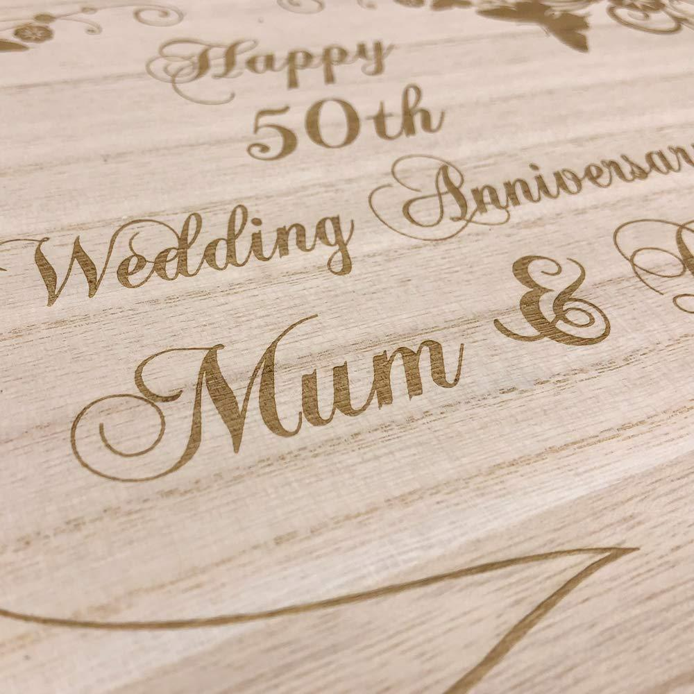 Raised Words Personalised Large Anniversary Floral Design Wooden Memories Keepsake Box - ukgiftstoreonline
