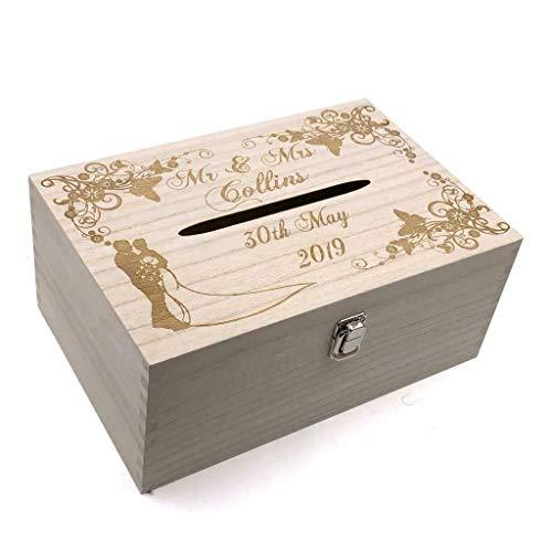 Raised Words Personalised Wedding Wooden Post Box with Slot Cards Drop in Memory Box - ukgiftstoreonline
