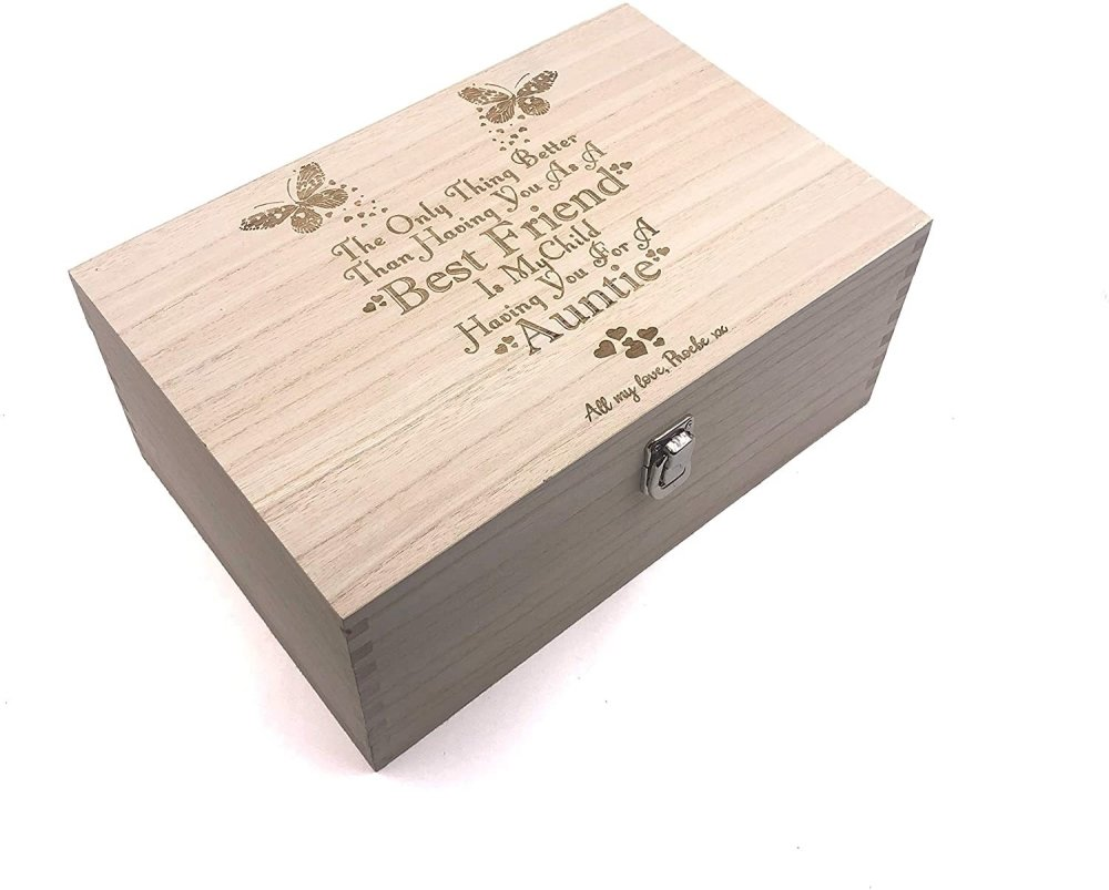 Raised Words Wooden Personalised Best Friend To Auntie Gift Box - ukgiftstoreonline