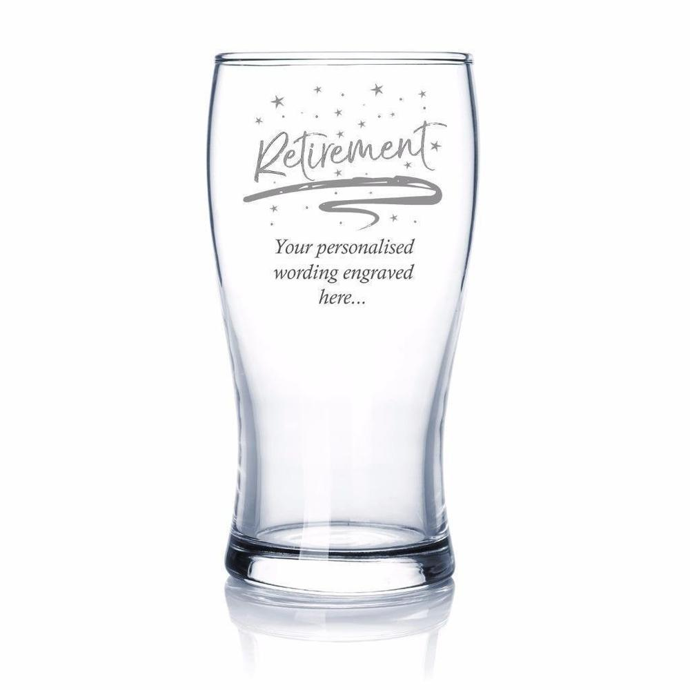 Retirement Sentiment Personalised Beer Glass - ukgiftstoreonline