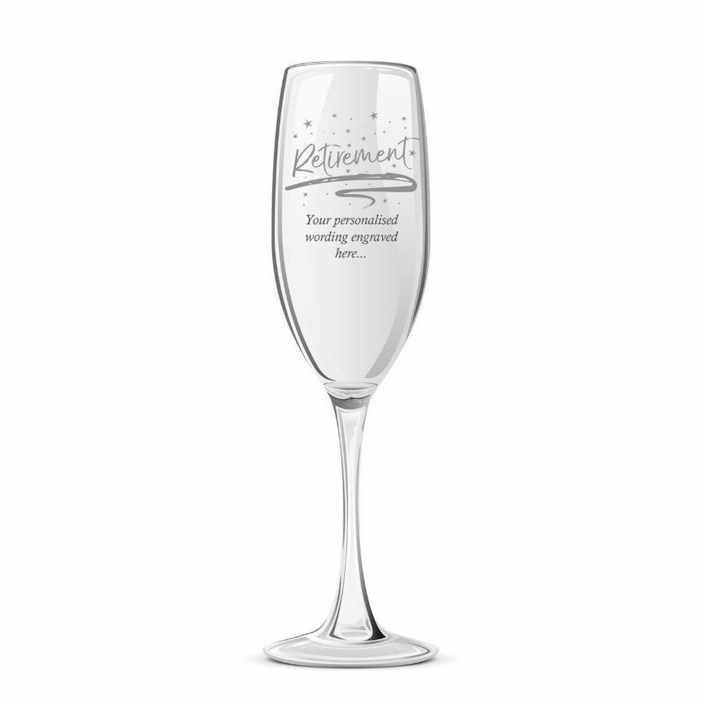 Retirement Sentiment Personalised Engraved Champagne Glass - ukgiftstoreonline
