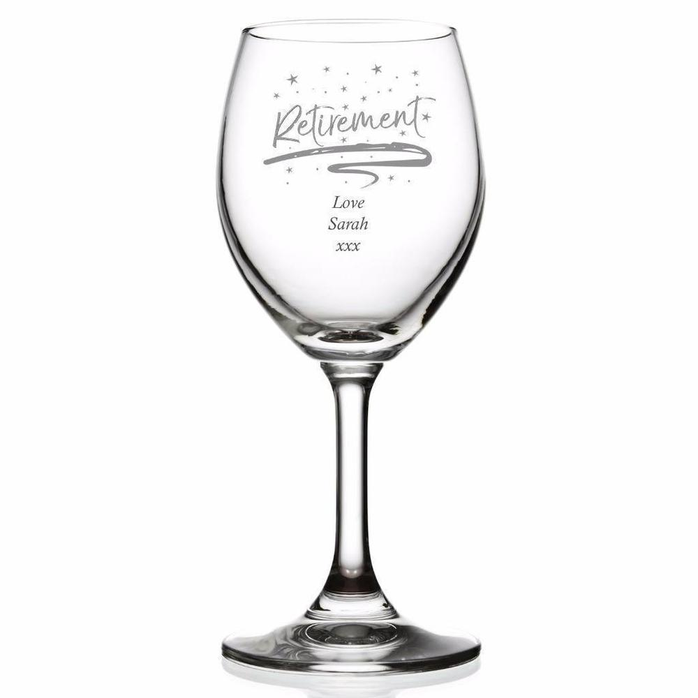 Retirement Sentiment Personalised Wine Glass - ukgiftstoreonline