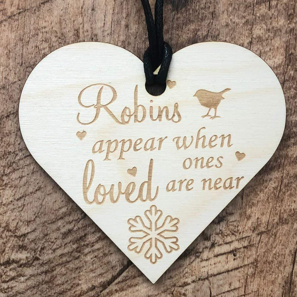 Robins Appear When Loved Ones Are Near Heart Wooden Plaque Gift - ukgiftstoreonline