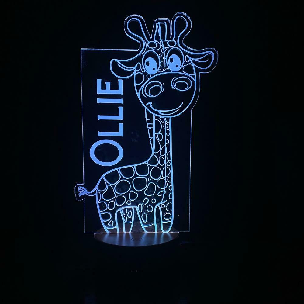 Personalised Giraffe Design Gift Lamp Night Light Kids Bedroom