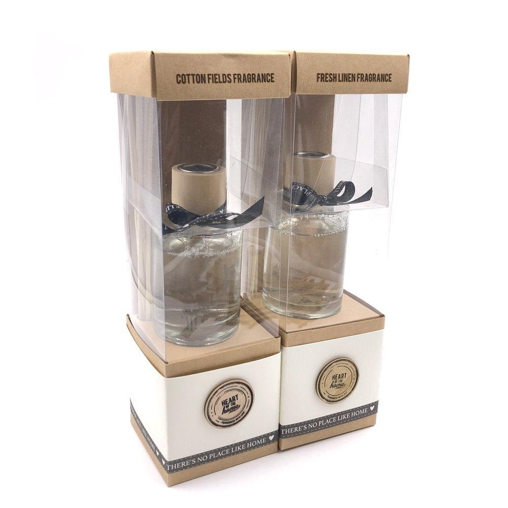 Set Of Two 100ml Reed Diffusers Cotton Fields and Fresh Linen - ukgiftstoreonline