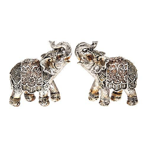 Set Of Two Antique Silver Finish Elephant Statue Ornament Figurines 285200 - ukgiftstoreonline