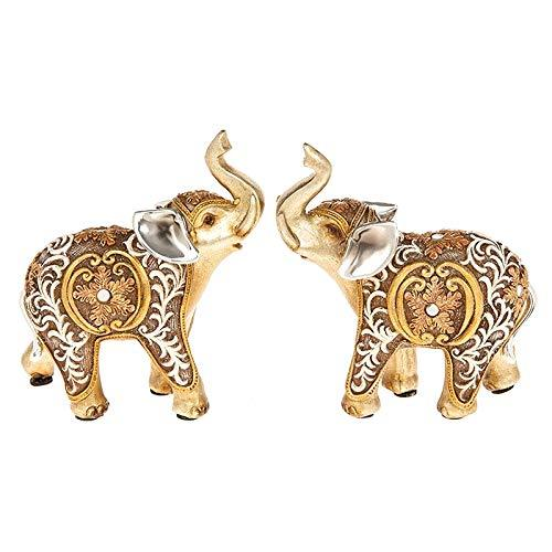 Set Of Two Filigree Gold Elephant Statue Ornament Figurines 285291 - ukgiftstoreonline