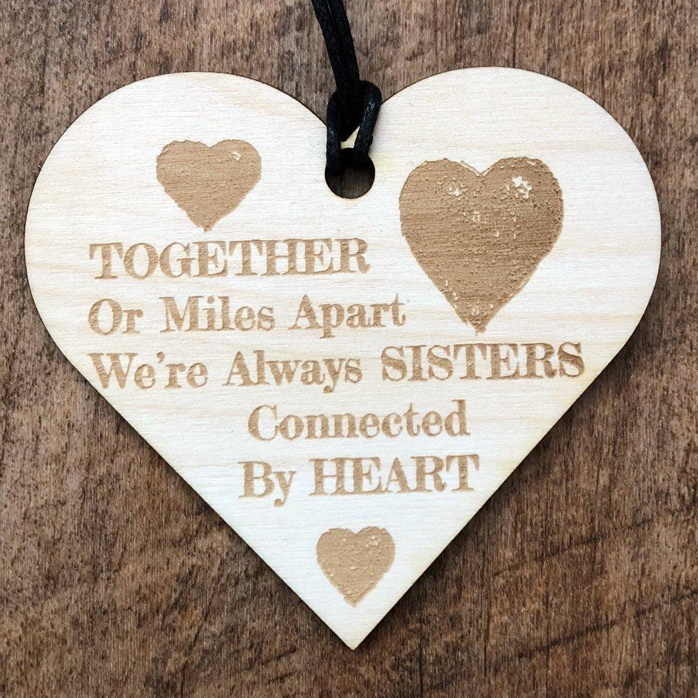 Sisters Connected By The Heart Wooden Hanging Heart Plaque Gift - ukgiftstoreonline