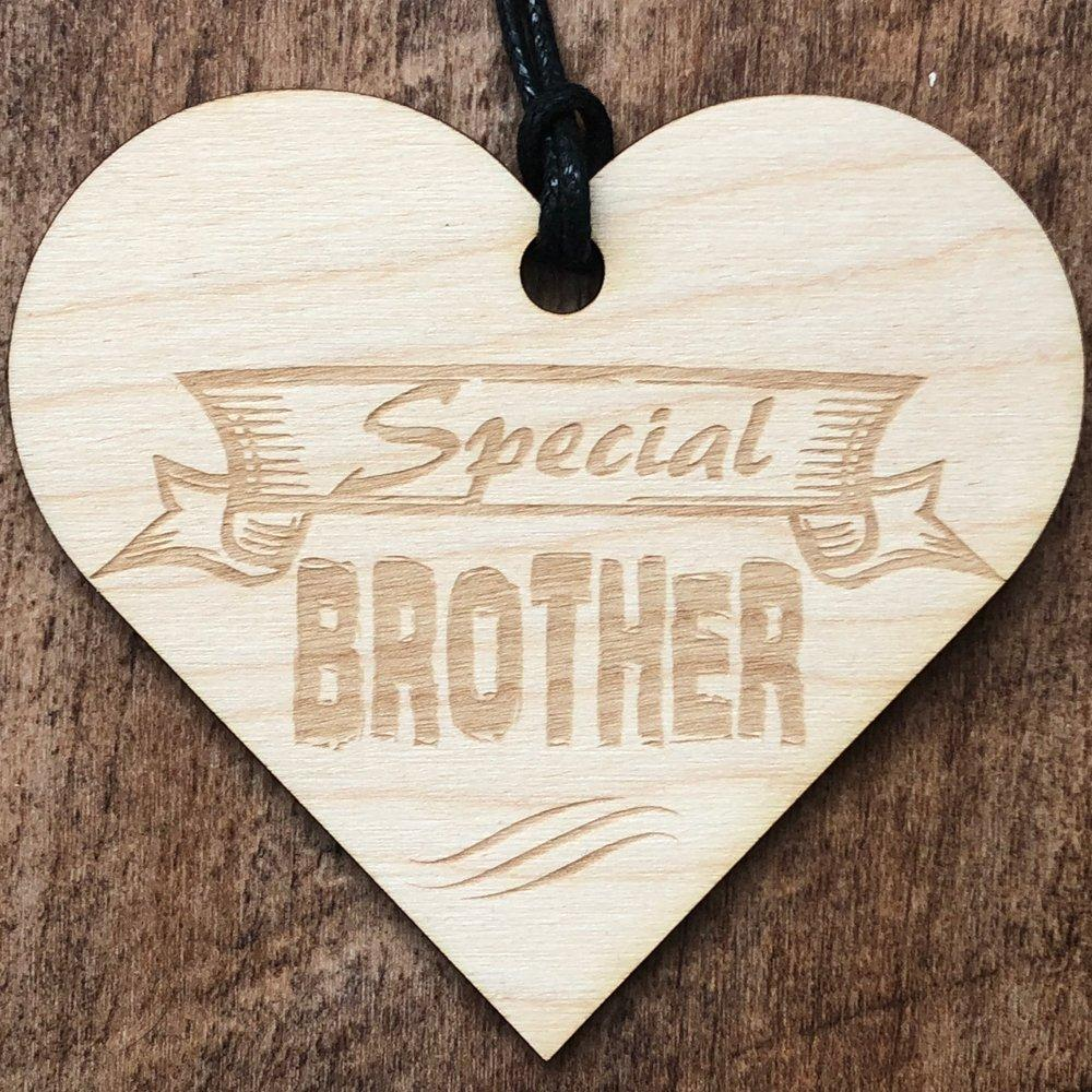 Special Brother Wooden Hanging Heart Plaque Gift - ukgiftstoreonline