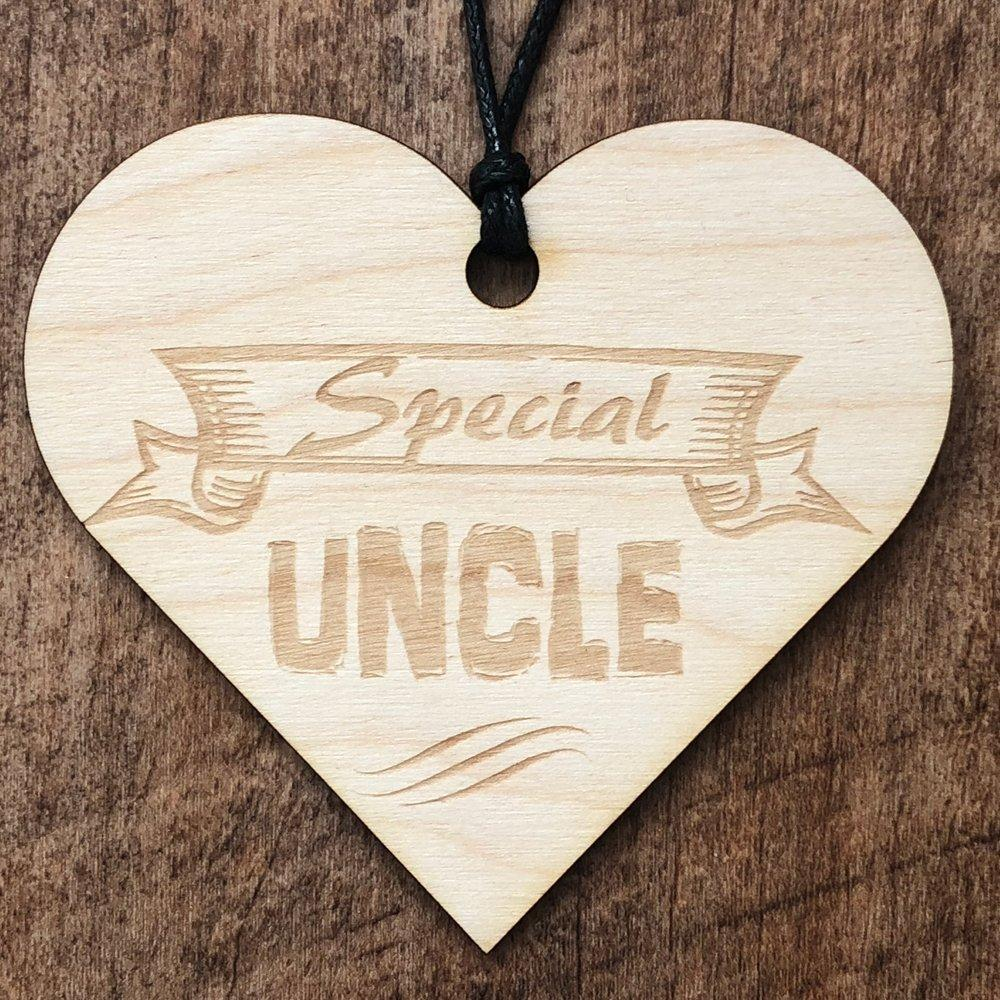 Special Uncle Wooden Hanging Heart Plaque Gift - ukgiftstoreonline
