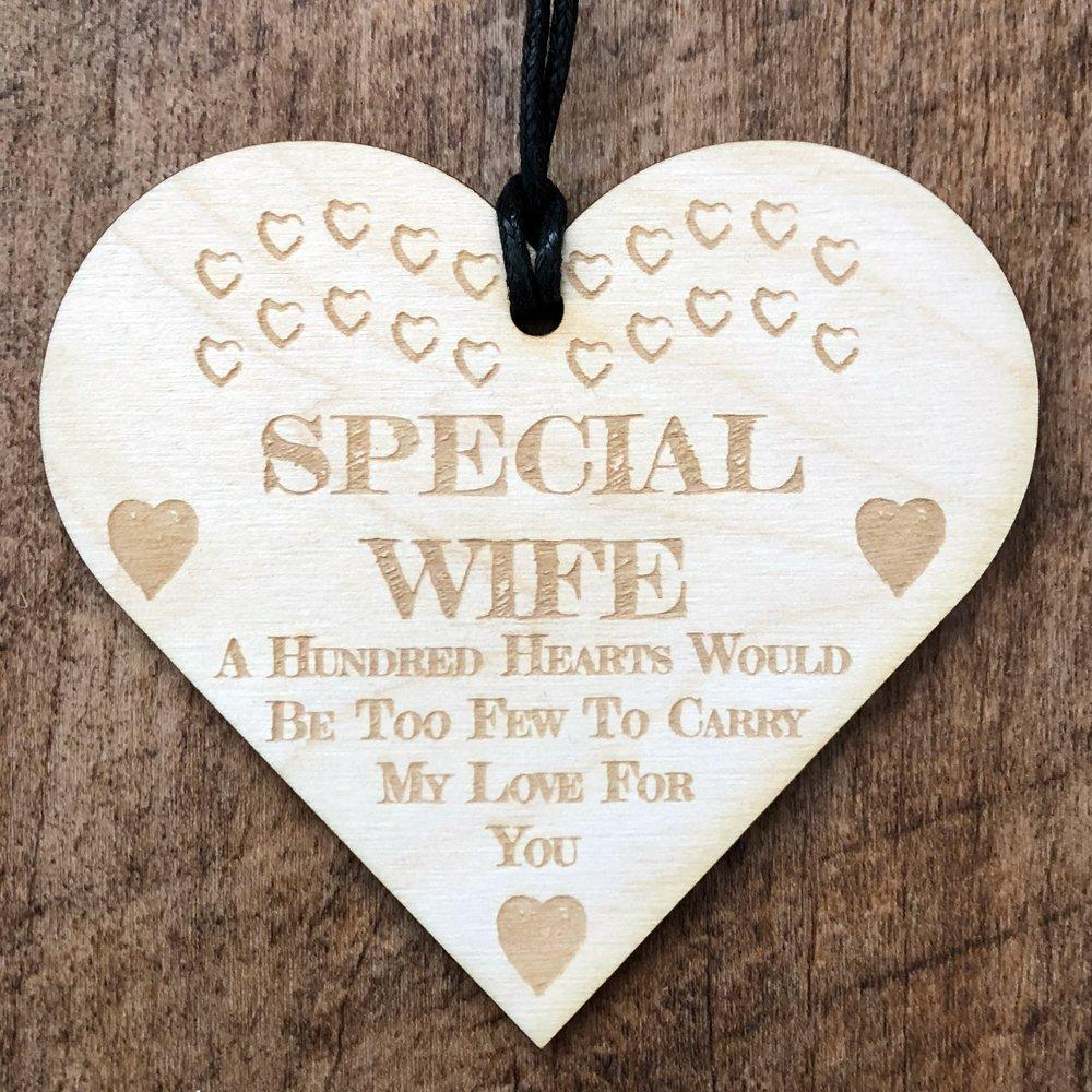 Special Wife Love Wooden Hanging Heart Plaque Gift - ukgiftstoreonline