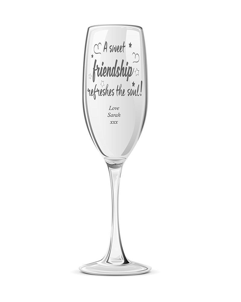 Sweet Friendship Personalised Engraved Champagne Prosecco Glass - ukgiftstoreonline