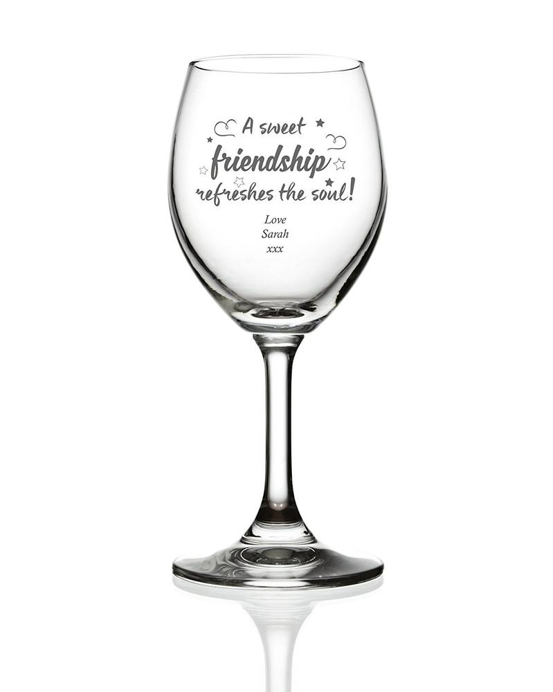 Sweet Friendship Wine Personalised Engraved Wine Glass - ukgiftstoreonline