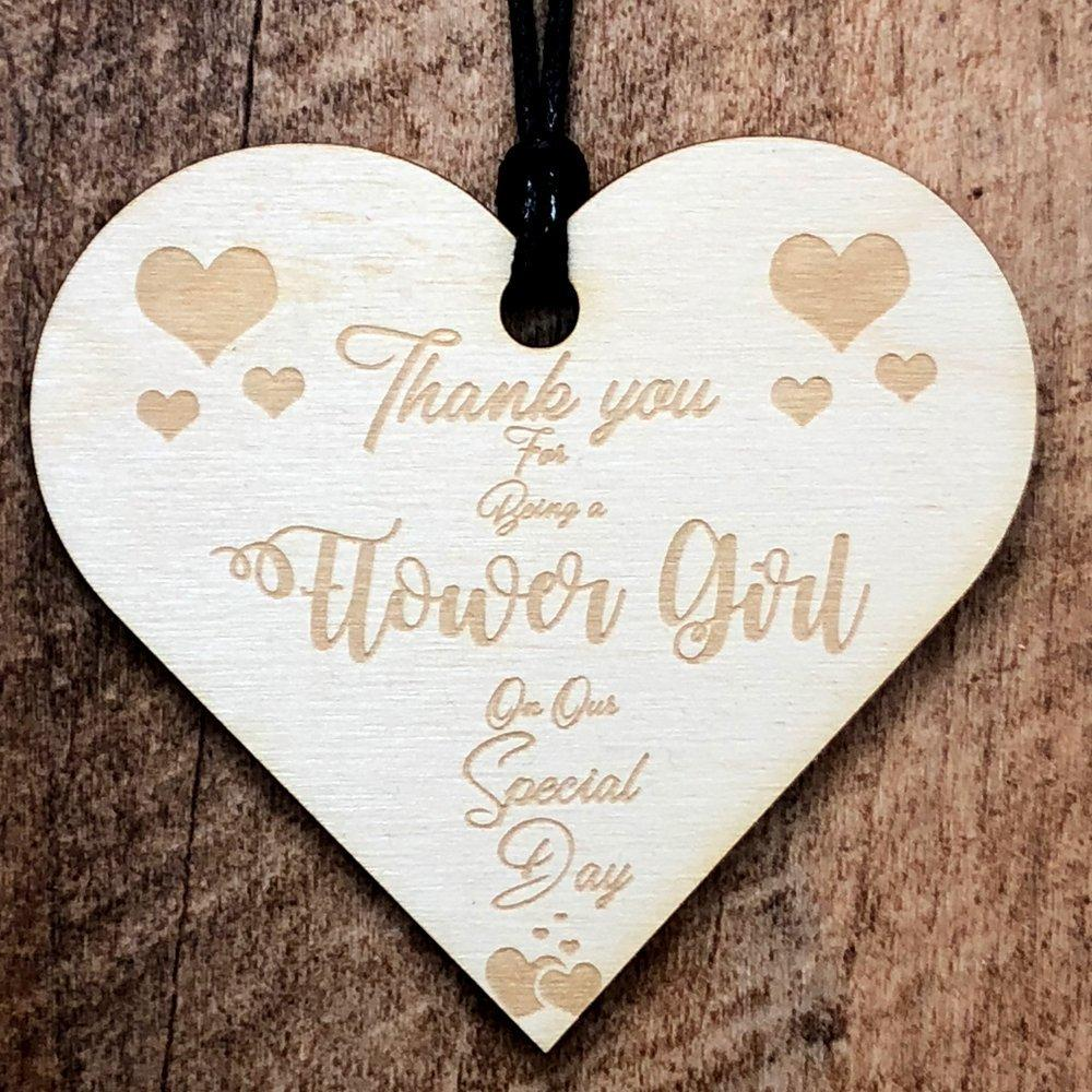 Thank You Flower Girl Wooden Hanging Heart Wedding Plaque Gift - ukgiftstoreonline