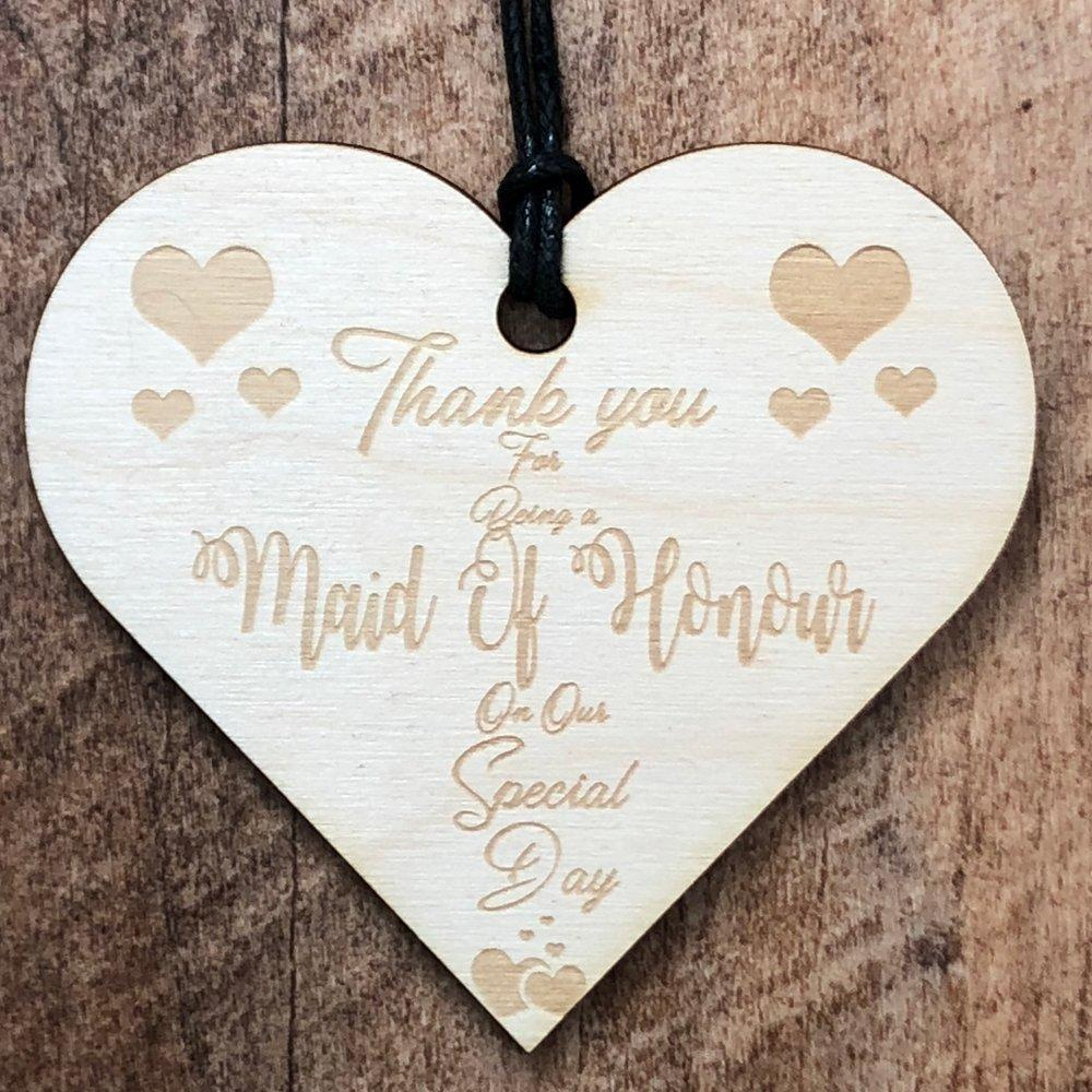 Thank You Maid Of Honour Wooden Hanging Heart Wedding Plaque Gift - ukgiftstoreonline