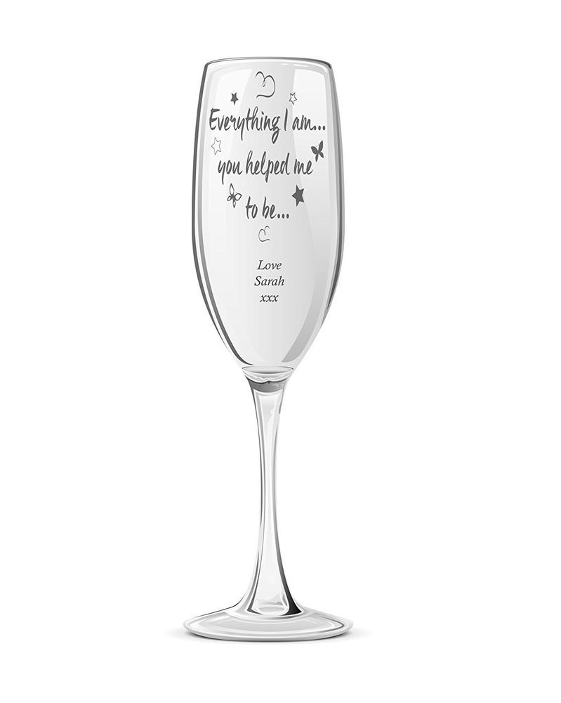 Thank you Sentiment Personalised Engraved Champagne Prosecco Glass - ukgiftstoreonline