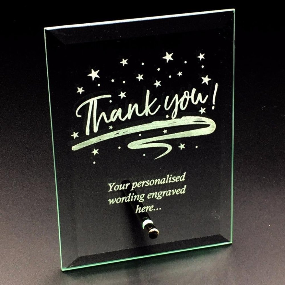 Thank You Sentiment Personalised Engraved Glass Plaque - ukgiftstoreonline