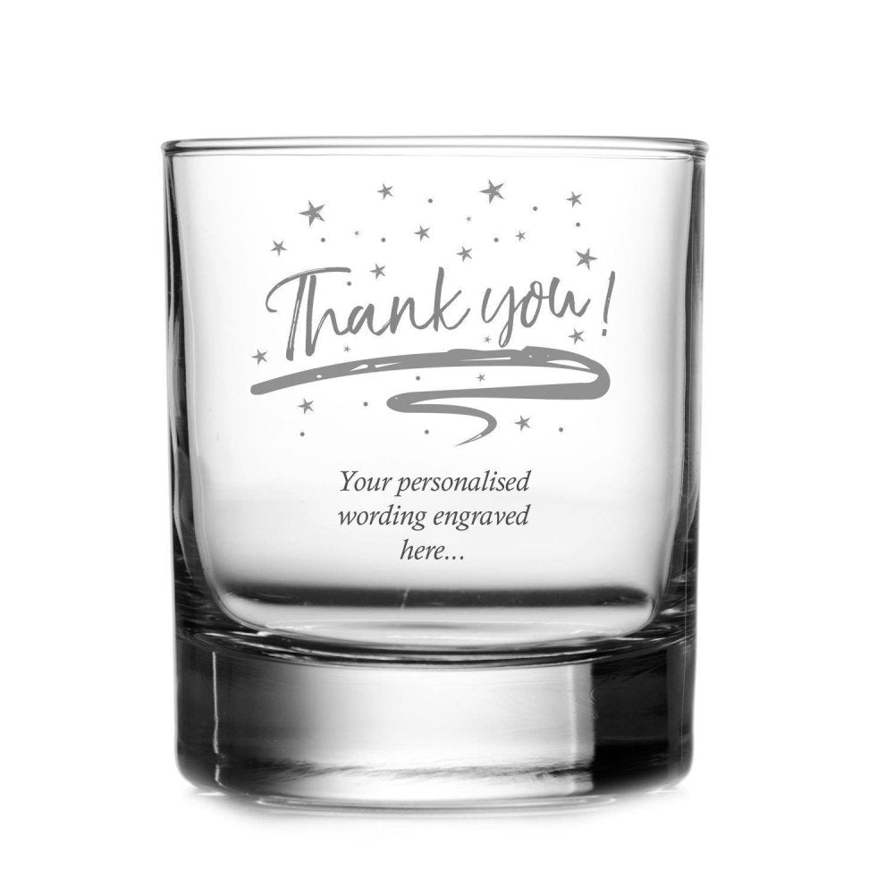 Thank You Sentiment Personalised Engraved Whisky Glass - ukgiftstoreonline