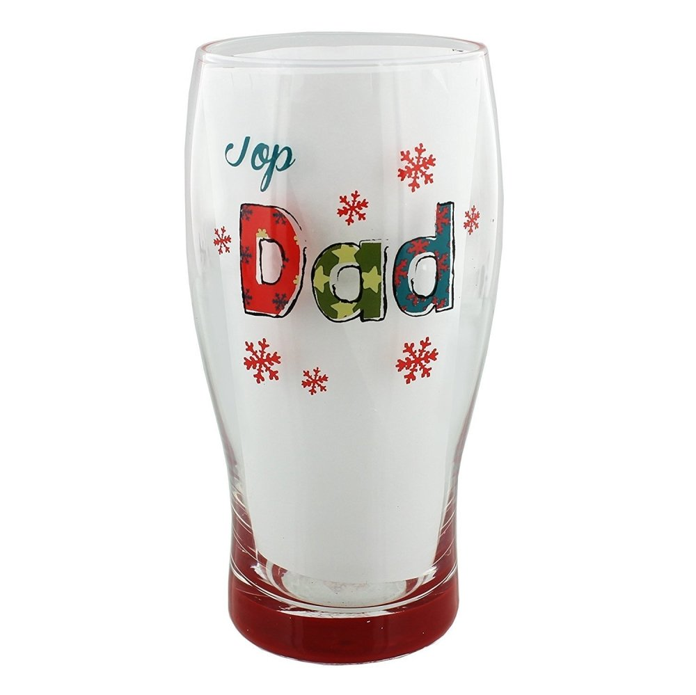 Top Dad Christmas Beer Glass Gift Boxed - ukgiftstoreonline