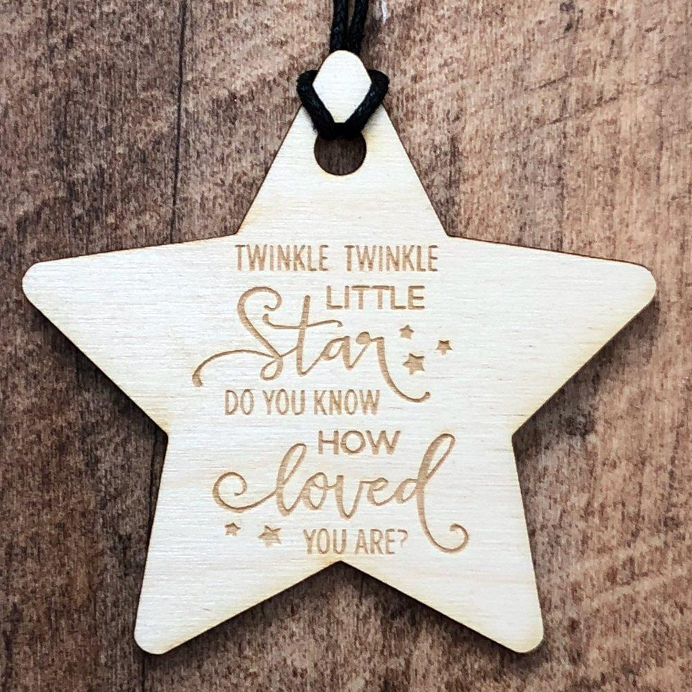 Twinkle Twinkle Little Star Wooden Hanging Baby Plaque Gift Sign - ukgiftstoreonline