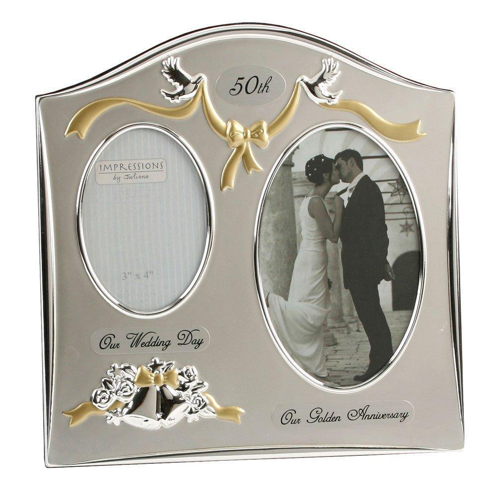 "Two Tone Silverplated Wedding Anniversary Gift Photo Frame - ""50th Golden Anniversary"" - ukgiftstoreonline"