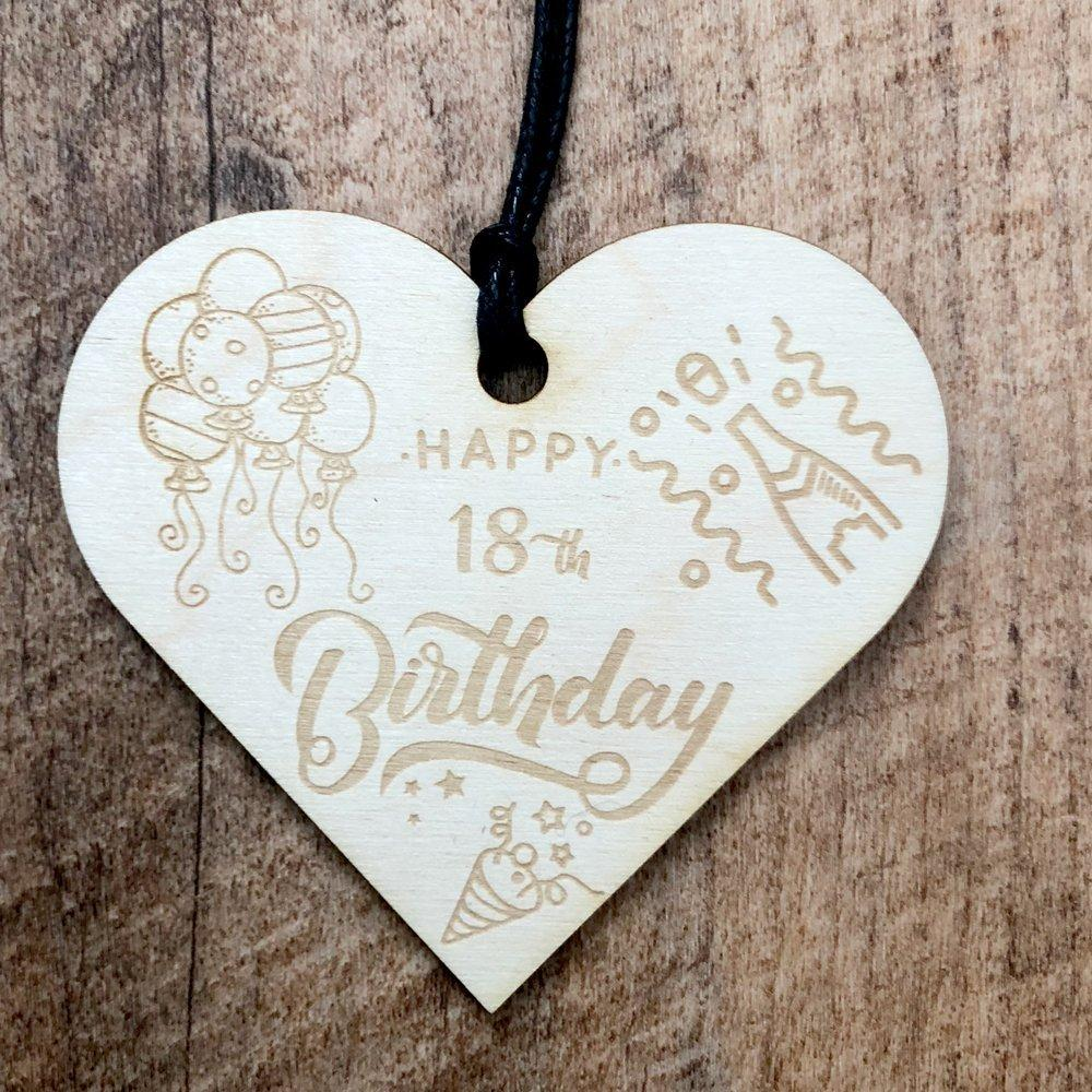ukgiftstoreonline 18th Birthday Wooden Hanging Heart Wedding Plaque Gift - ukgiftstoreonline