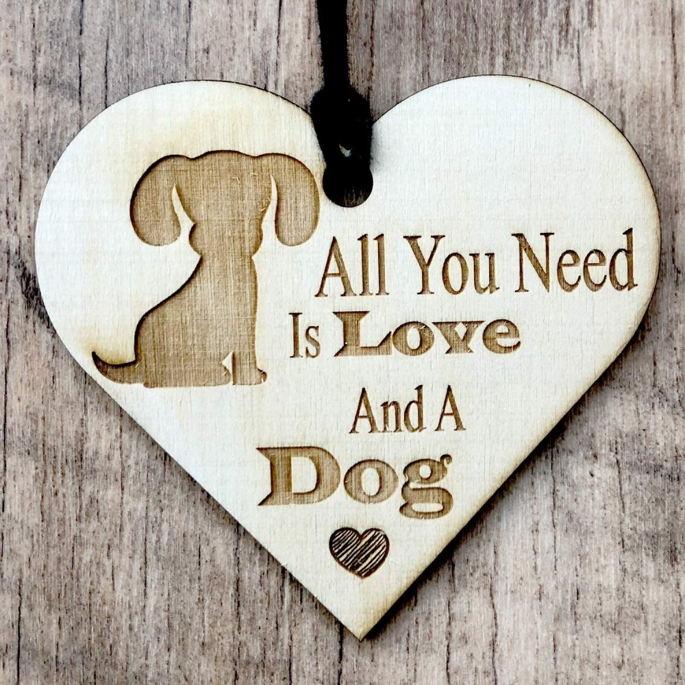 ukgiftstoreonline All You Need Is Love and A Dog Engraved Plaque Wooden Heart Gift - ukgiftstoreonline