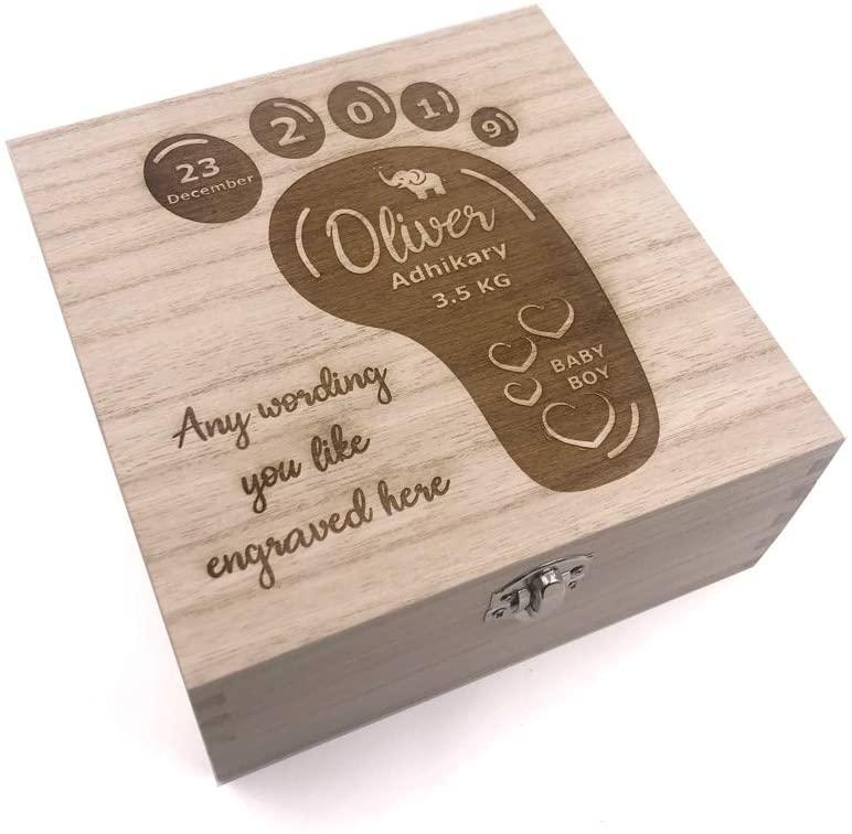 ukgiftstoreonline Baby Gift Engraved Personalised Keepsake Box With Footprint - ukgiftstoreonline