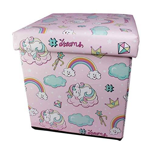 ukgiftstoreonline Baby Girl Gift Cushioned Keepsake Unicorn Toy Box Pink Leatherette Stool - ukgiftstoreonline