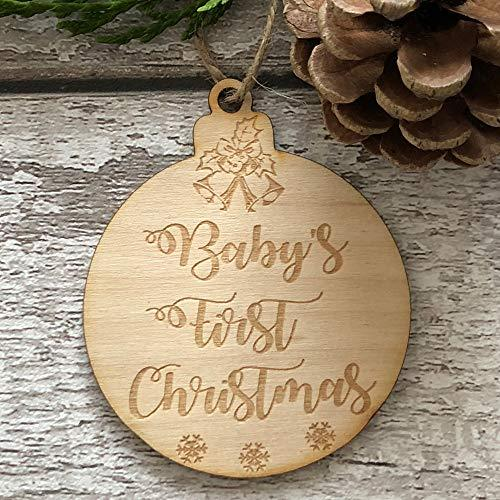 ukgiftstoreonline Baby's First Christmas Hanging Decoration Wood Bauble Gift - ukgiftstoreonline