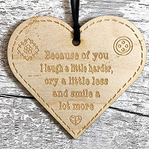 ukgiftstoreonline Because Of You I Laugh A Little Harder Button Range Wood Heart Gift - ukgiftstoreonline
