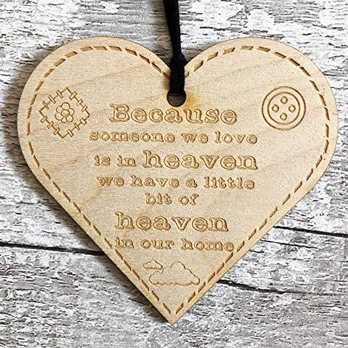 ukgiftstoreonline Because Someone We Love Is In Heaven Button Range Wood Heart Gift - ukgiftstoreonline