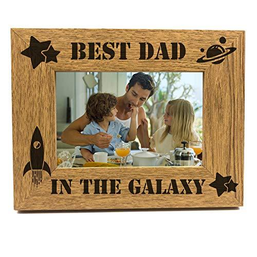 ukgiftstoreonline Best Dad In The Galaxy Wooden Photo Frame Gift - ukgiftstoreonline