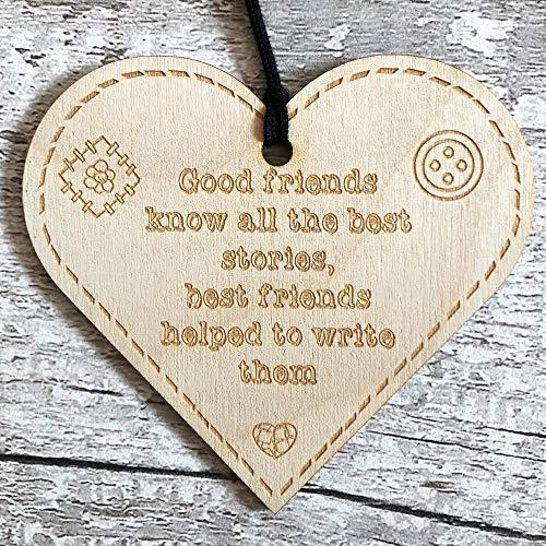 ukgiftstoreonline Best Friends Help Write Stories Button Range Wood Heart Gift - ukgiftstoreonline
