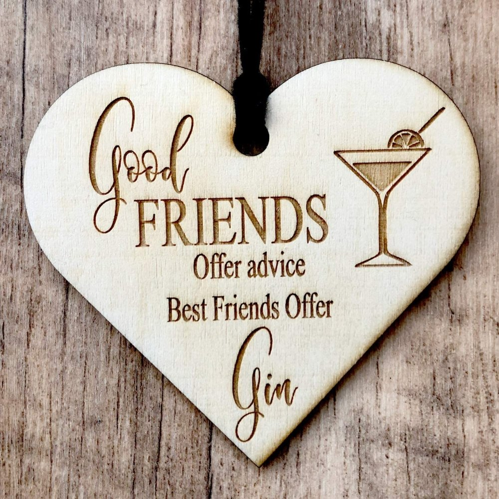 ukgiftstoreonline Best Friends Offer Gin Engraved Plaque Wooden Heart Gift - ukgiftstoreonline