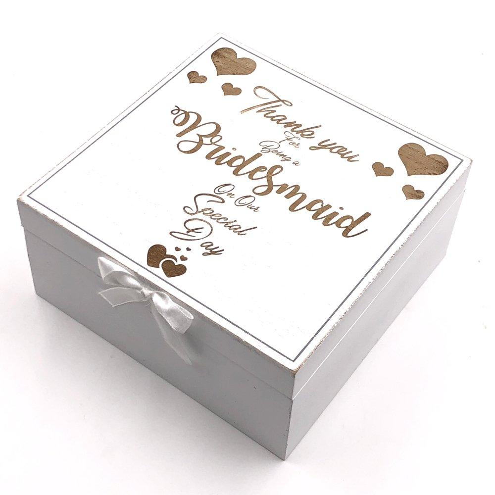 ukgiftstoreonline Bridesmaid Gift Thank you Keepsake Box Vintage Style wooden Memories - ukgiftstoreonline