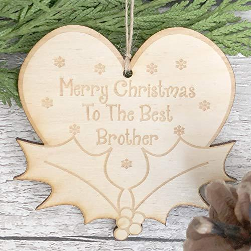 ukgiftstoreonline Brother Christmas Novelty Heart And Holly Wooden Plaque Gift - ukgiftstoreonline