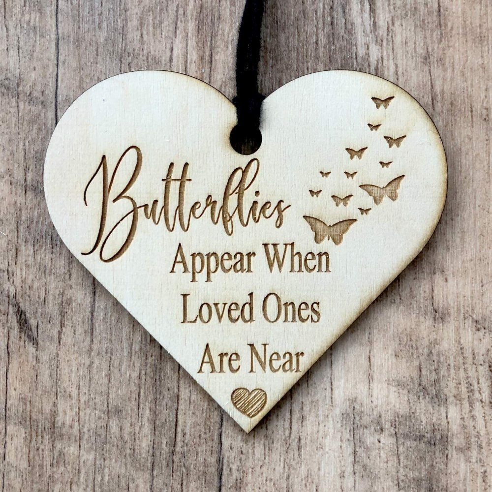 ukgiftstoreonline Butterflies Appear When Loved Ones Are Near Plaque Wooden Heart - ukgiftstoreonline