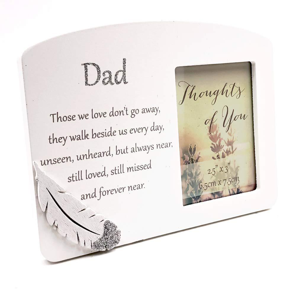 ukgiftstoreonline Dad Silver Feather Memorial Remembrance Photo Frame - ukgiftstoreonline