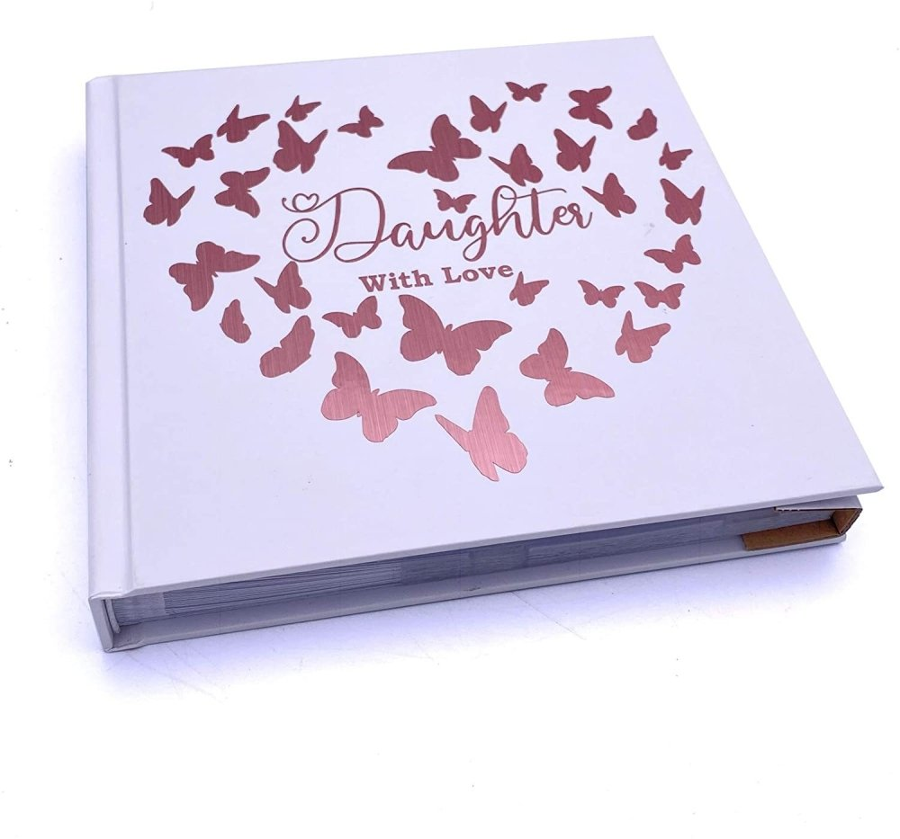 ukgiftstoreonline Daughter With Love Photo Album Keepsake Gift Butterfly Rose Gold Design - ukgiftstoreonline