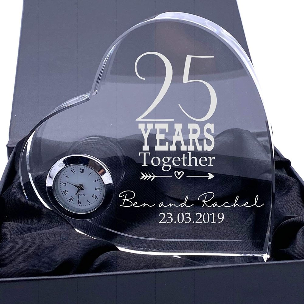 ukgiftstoreonline Engraved Heart Crystal Glass Clock Any 1st, 5th, 10th, 25th, 30th, 40th, 50th, 60th - ukgiftstoreonline