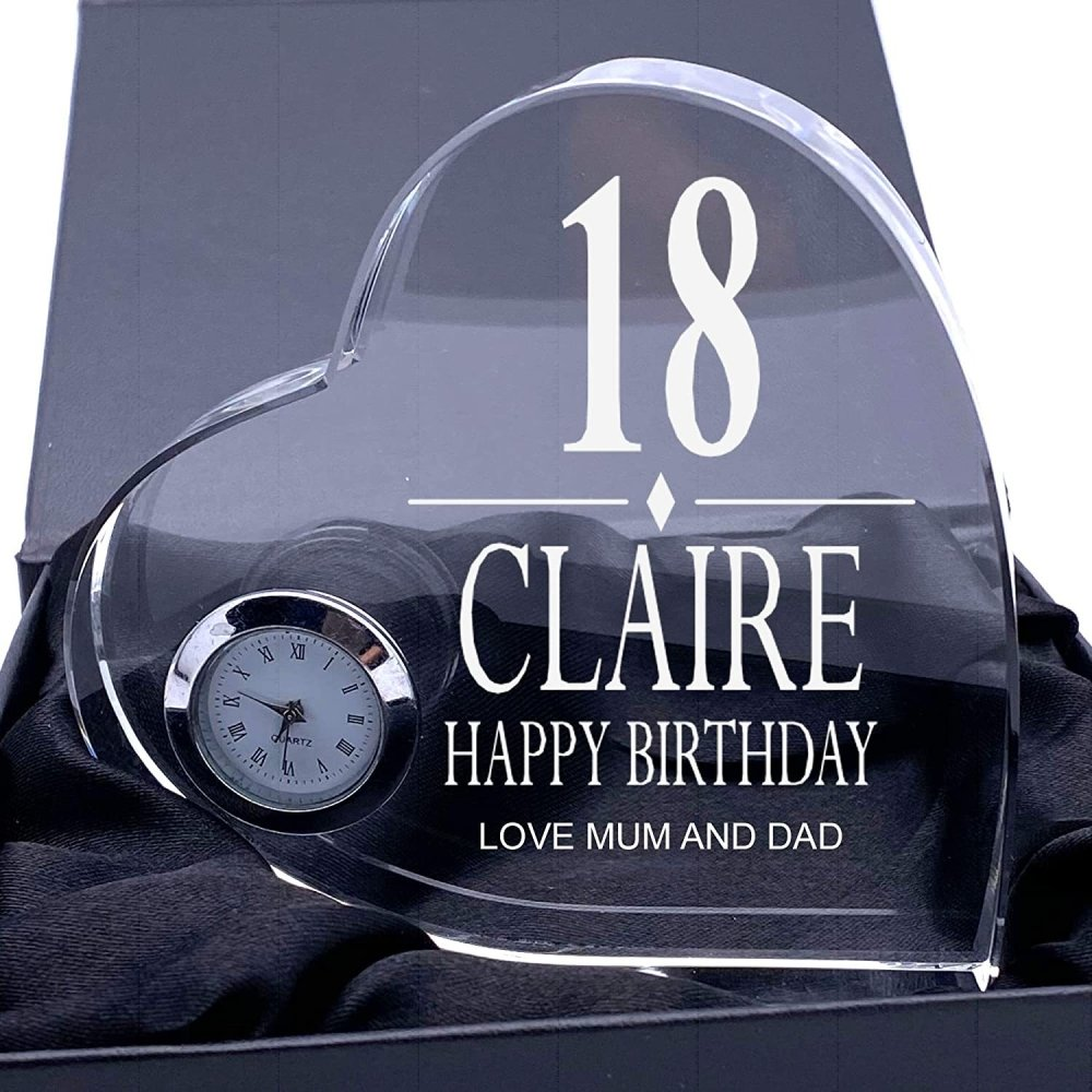 ukgiftstoreonline Engraved Heart Crystal Glass Clock Any Birthday Gift 18th, 21st, 30th, 40th, 50th, 60th, 70th, 80th, 90th - ukgiftstoreonline