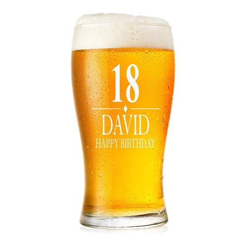 ukgiftstoreonline Engraved Personalised Birthday Pint Beer Glass Gift BG-02 - ukgiftstoreonline