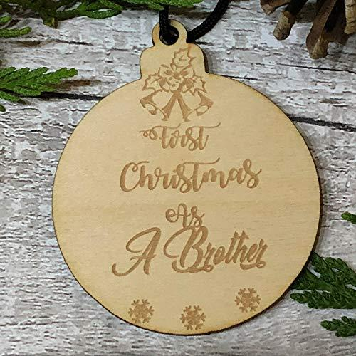 ukgiftstoreonline First Christmas As A Brother Hanging Decoration Wood Bauble Gift - ukgiftstoreonline