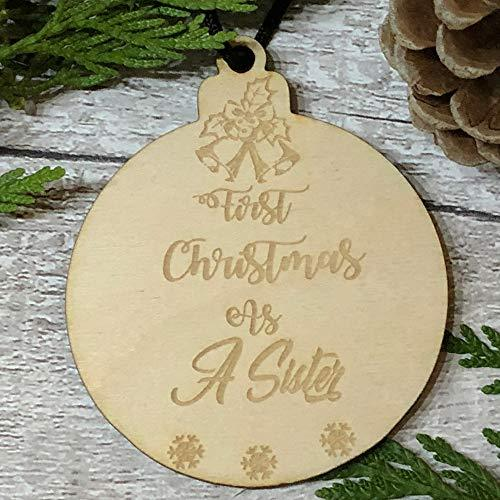 ukgiftstoreonline First Christmas As A Sister Hanging Decoration Wood Bauble Gift - ukgiftstoreonline