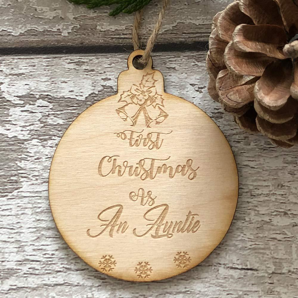 ukgiftstoreonline First Christmas As An Auntie Hanging Decoration Wood Bauble Gift - ukgiftstoreonline