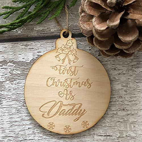 ukgiftstoreonline First Christmas As Daddy Hanging Decoration Wood Bauble Gift - ukgiftstoreonline