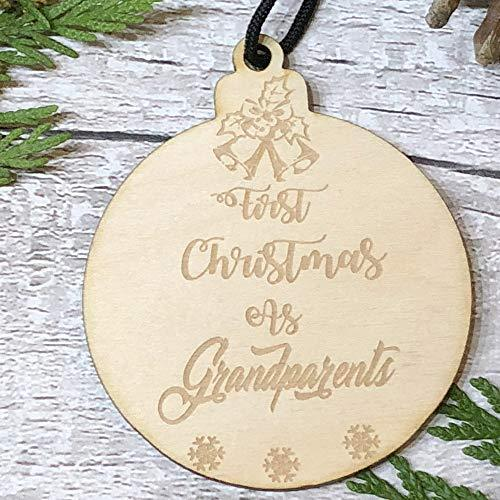 ukgiftstoreonline First Christmas As Grandparents Hanging Decoration Wood Bauble Gift - ukgiftstoreonline